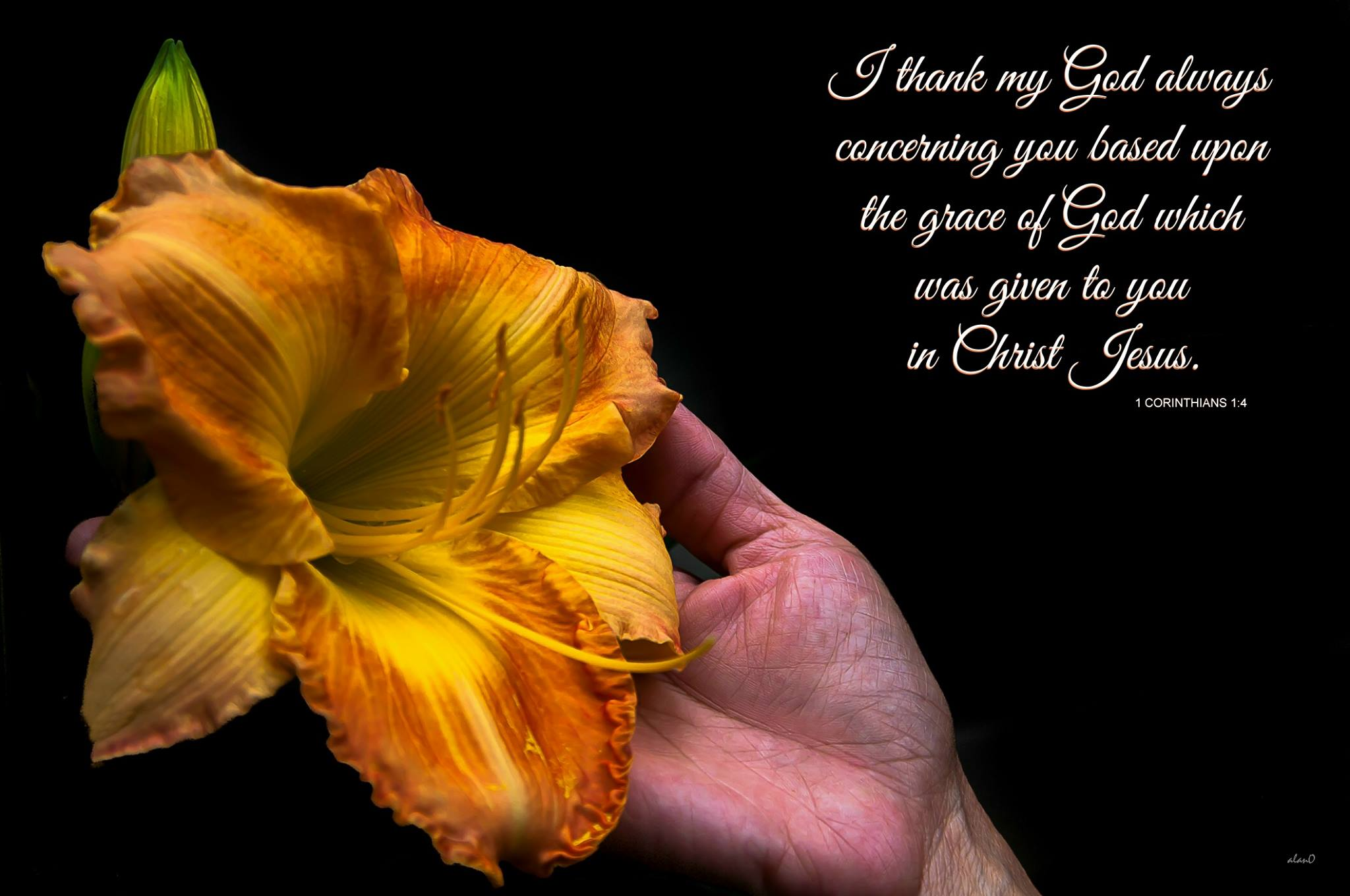 1 Cor. 1:4 I thank my God always concerning you based upon the grace of God which was given to you in Christ Jesus