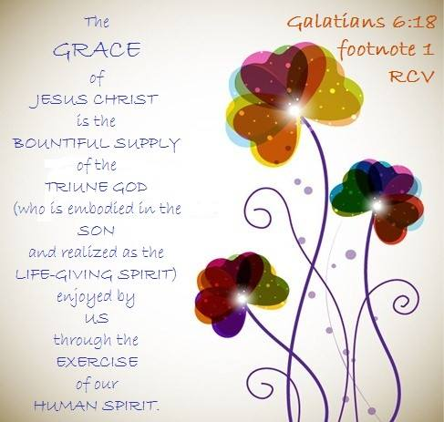 Galatians 6:18 The grace of Jesus Christ is the bountiful supply of the Triune God (who is embodied in the Son and realized as the life-giving Spirit) enjoyed by us through the exercise of our human spirit.