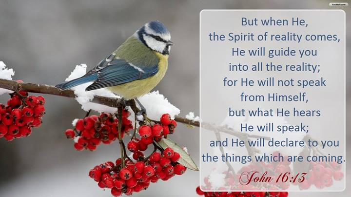 John 16:13 But when He, the Spirit of reality comes, He will guide you into all the reality; for He will not speak from Himself, but what He hears He will speak; and He will declare to you the things which are coming.