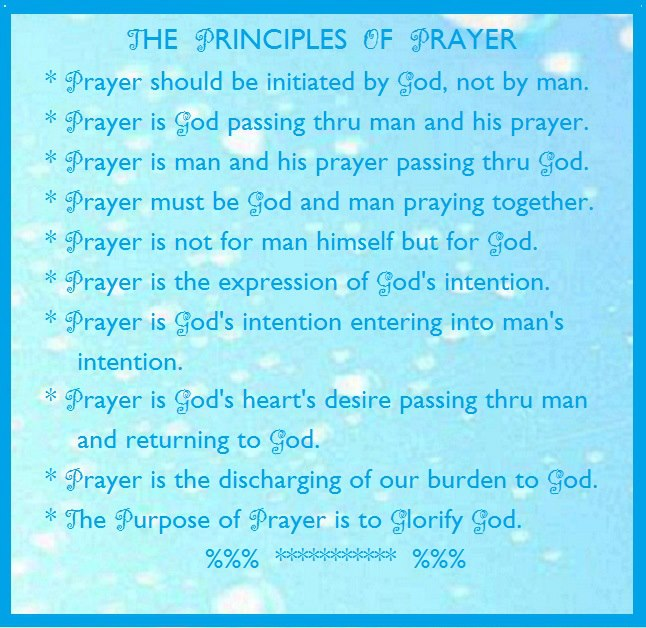 The Principles of Prayer