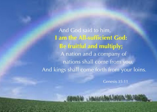 Gen. 35:11 And God said to him, I am the All-sufficient God: be fruitful and multiply; a nation and a company of nations shall come from you, and kings shall come forth from your loins.