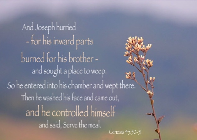 Genesis 43:30-31 And Joseph hurried - for his inward parts burned for his brother - and sought a place to weep. So he entered into his chamber and wept there. Then he washed his face and came out, and he controlled himself and said, Serve the meal.