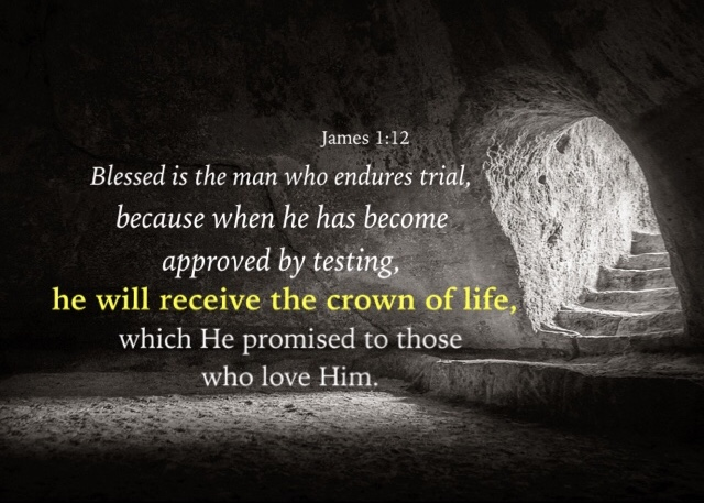 James 1:12 Blessed is the man who endures trial, because when he has become approved by testing, he will receive the crown of life, which He promised to those who love Him.