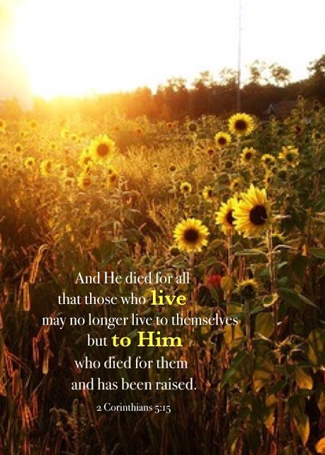 2 Corinthians 5:15 And He died for all that those who live may no longer live to themselves but to Him who died for them and has been raised.