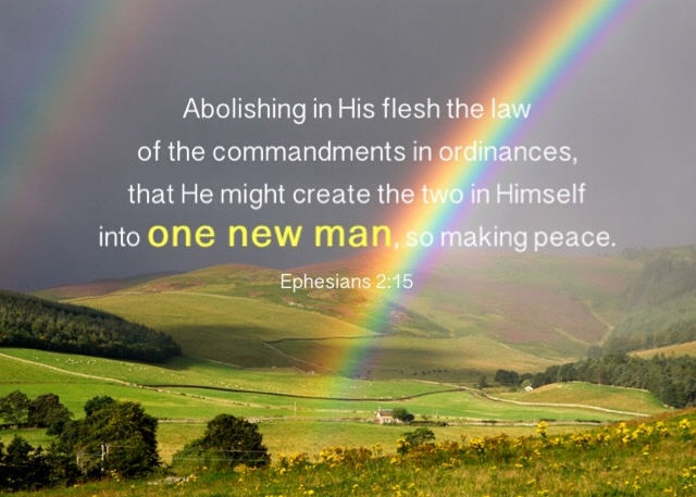 Ephesians 2:15 Abolishing in His flesh the law of the commandments in ordinances, that He might create the two in Himself into one new man, so making peace,