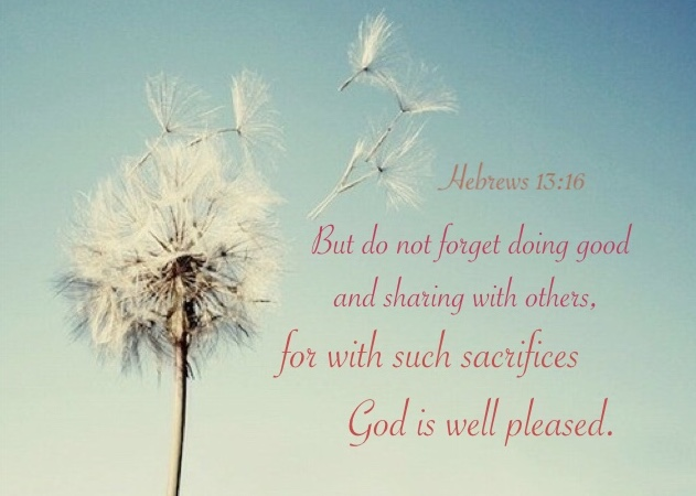 Hebrews 13:16 But do not forget doing good and sharing with others, for with such sacrifices God is well pleased.