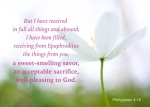 Philippians 4:18 But I have received in full all things and abound; I have been filled, receiving from Epaphroditus the things from you, a sweet-smelling savor, an acceptable sacrifice, well-pleasing to God.