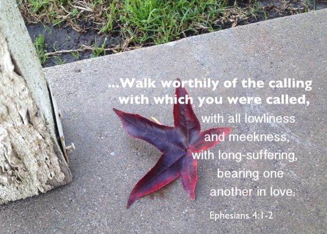 Eph. 4:1-2 I beseech you therefore, I, the prisoner in the Lord, to walk worthily of the calling with which you were called, With all lowliness and meekness, with long-suffering, bearing one another in love.