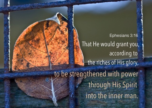 Ephesians 3:16 That He would grant you, according to the riches of His glory, to be strengthened with power through His Spirit into the inner man.