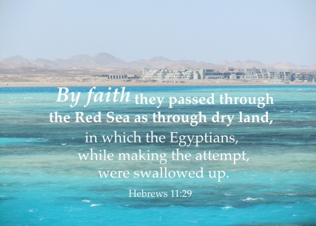 Heb 11:29 By faith they passed through the Red Sea as through dry land, in which the Egyptians, while making the attempt, were swallowed up.