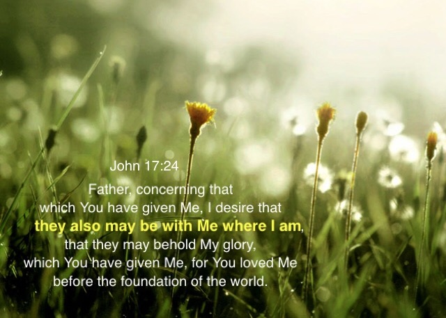 John 17:24 Father, concerning that which You have given Me, I desire that they also may be with Me where I am, that they may behold My glory, which You have given Me, for You loved Me before the foundation of the world.