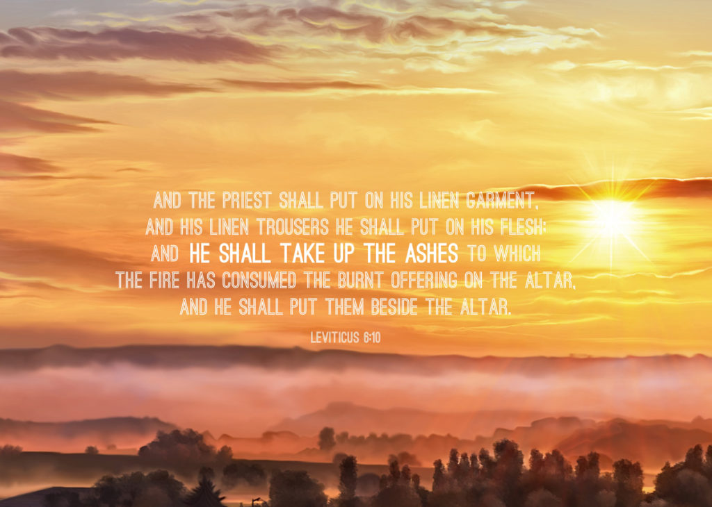 Lev. 6:10 And the priest shall put on his linen garment, and his linen trousers he shall put on his flesh; and he shall take up the ashes to which the fire has consumed the burnt offering on the altar, and he shall put them beside the altar.